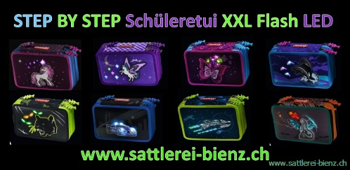 Step by Step Schüleretui XXL 3 Fächer gefüllt mit Flash Effekt Pegasus