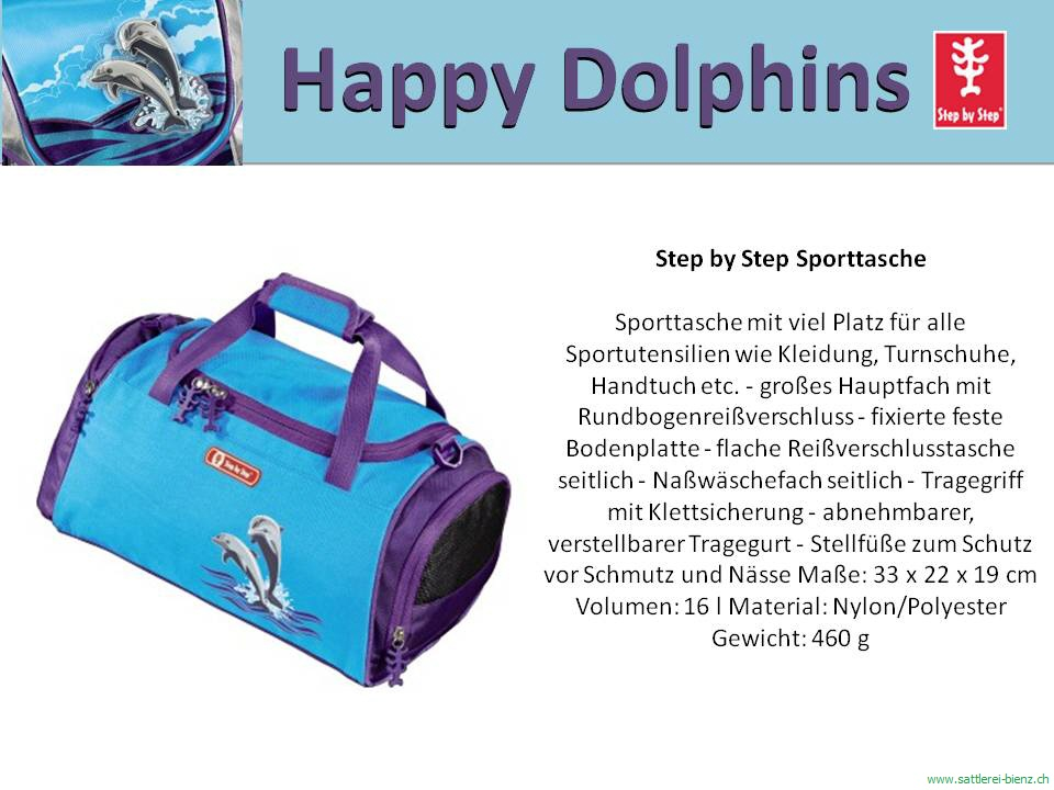 step by step happy dolphins sporttasch. Black Bedroom Furniture Sets. Home Design Ideas