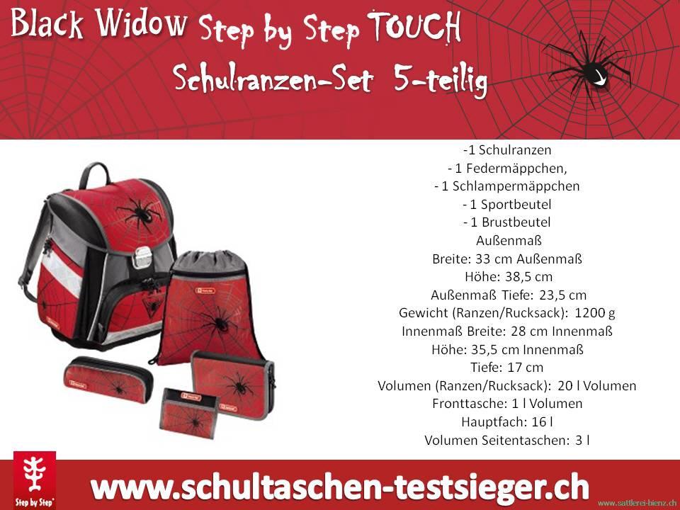 step by step touch black widow schulranzen se. Black Bedroom Furniture Sets. Home Design Ideas